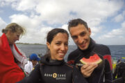 Two divers smiling