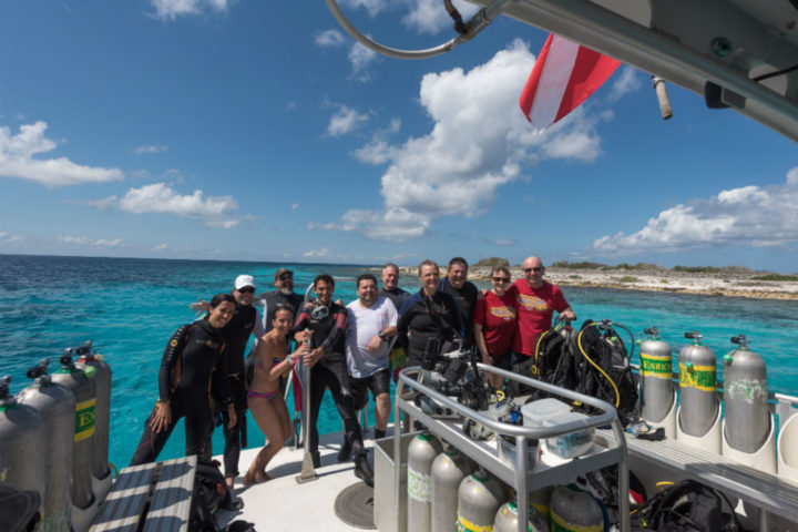 Group on boat after dive