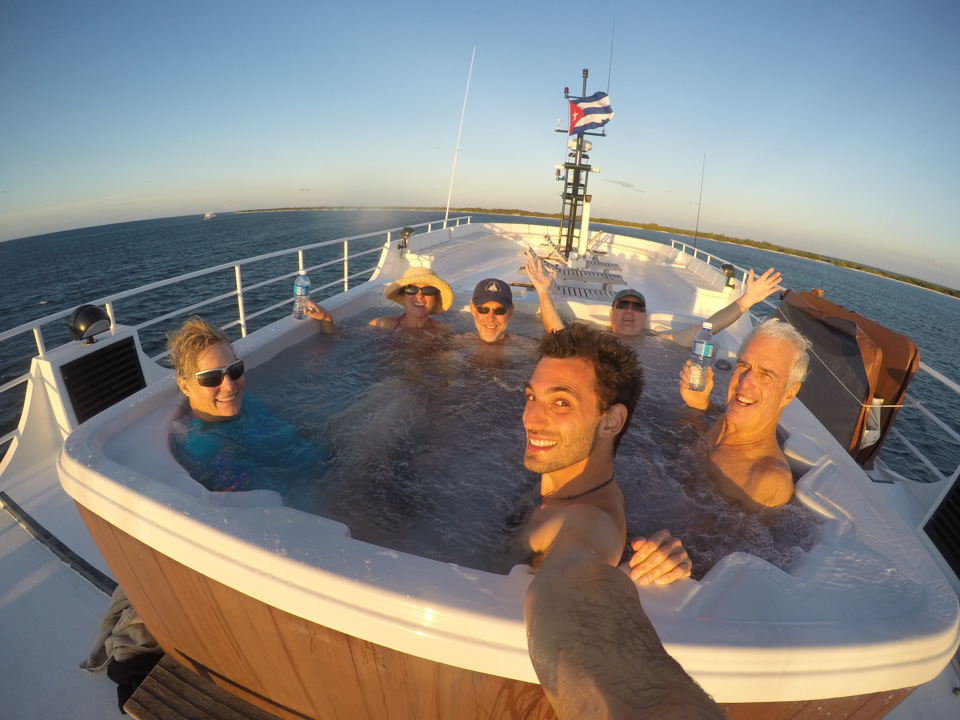 Fun in the hot tub between dives