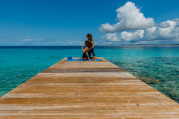 Yoga on the deck in Bonaire